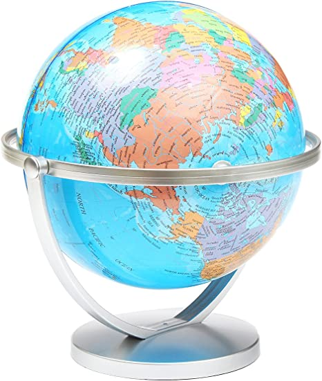 RISHIL WORLD/® World Globe Earth Ocean Atlas Map with Rotating Stand Geography Educational Toy