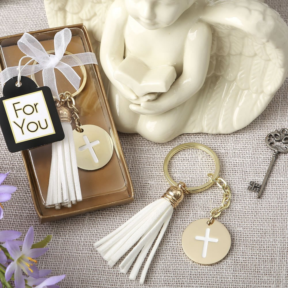 144 Gold Metal Cross Themed White Tassel Key Chains by Fashioncraft