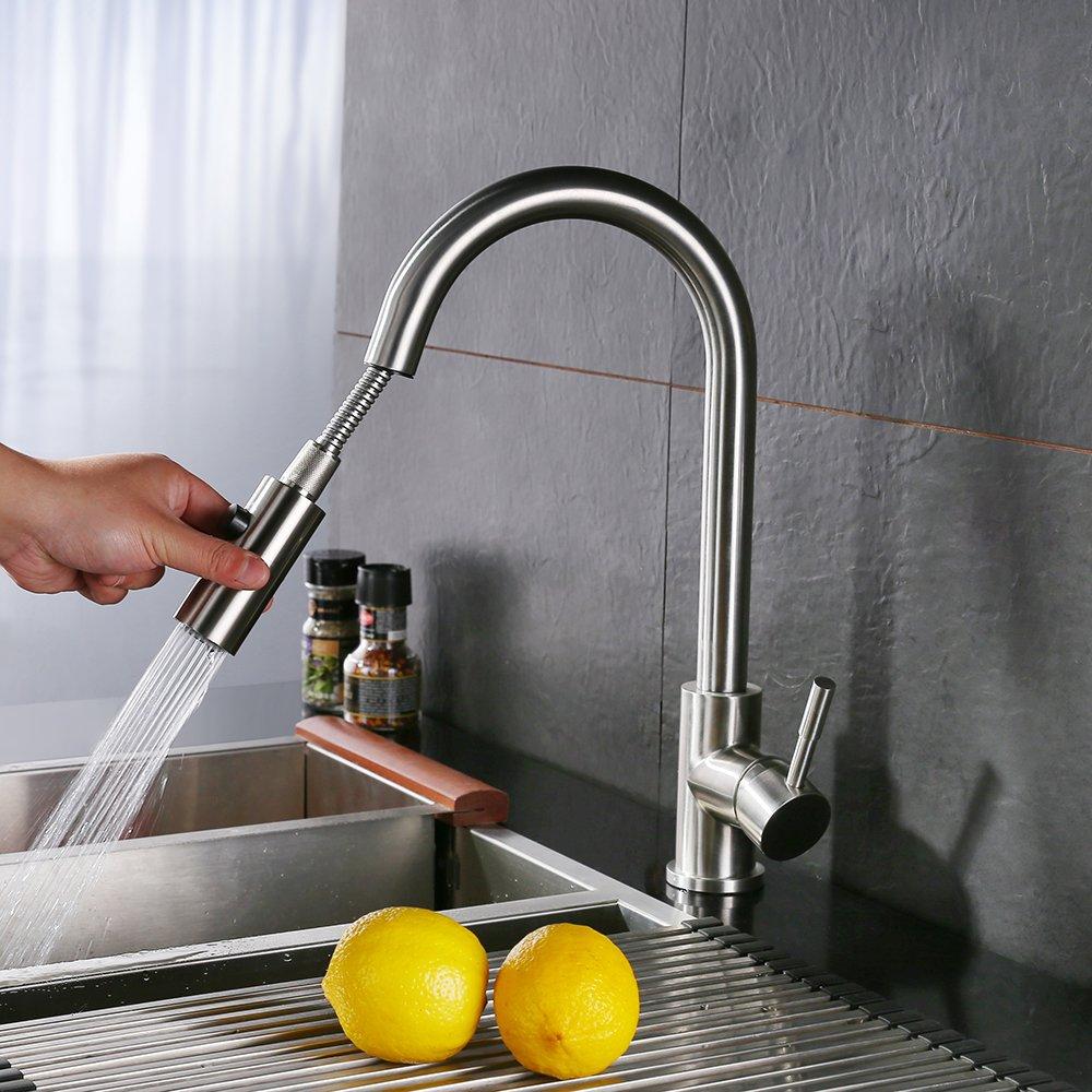 homelody robinet de cuisine bec pivotant 360 mitigeur evier avec douchette extractible dbit - Robinet Cuisine Avec Douchette Extractible