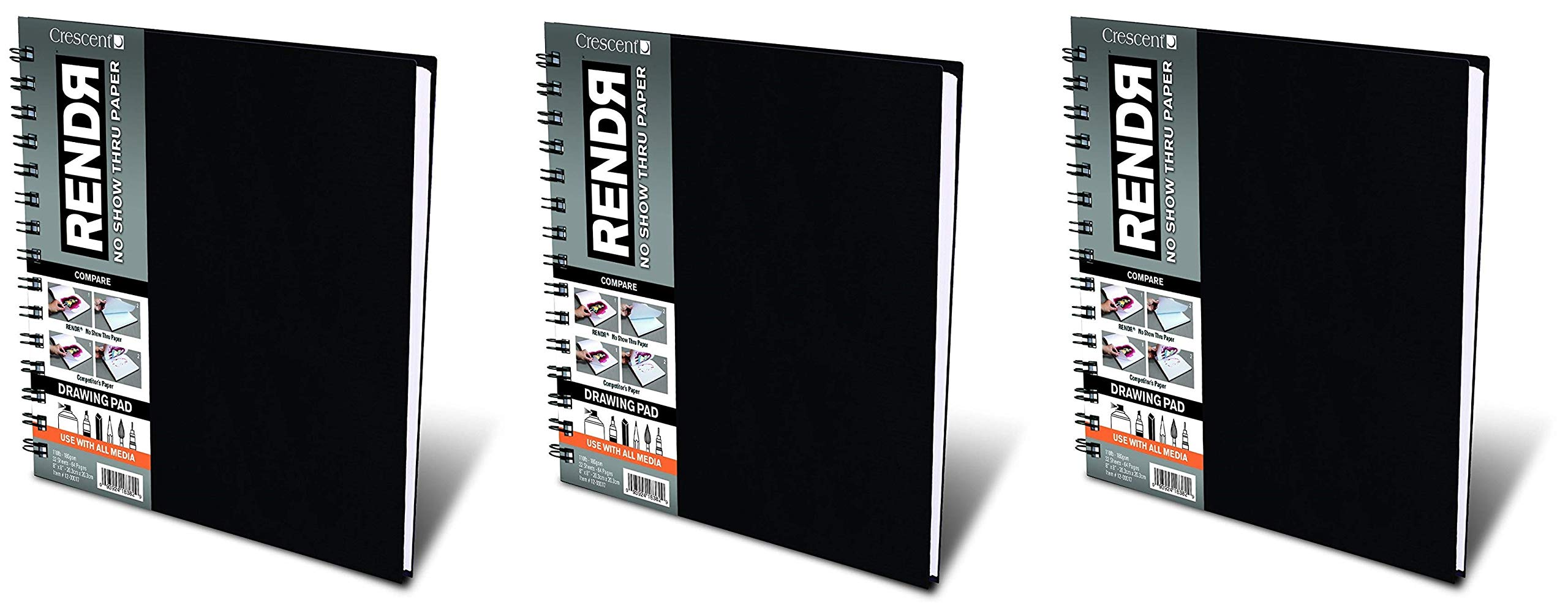 Crescent Creative Products 8-inch RENDR Wire-Bound Sketchbook, 8'' x 8'' (Thrее Рack) by Crescent