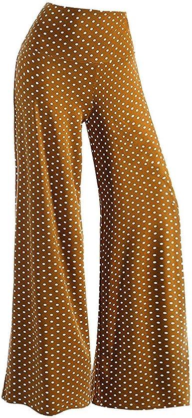 Pantalones Anchos Para Mujer Casual Con Estampado De Lunares De Moda Pantalones Sueltos Con Talle Alto De Fiesta De Noche Elegante Pantalones Palazzo Baggy Amazon Es Ropa Y Accesorios