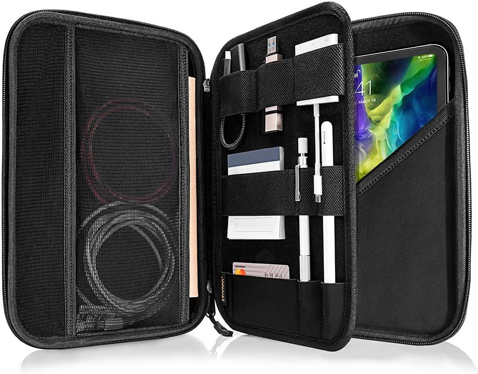 tomtoc Portfolio Case for 2020 iPad Pro 11-inch/ 10.2 New iPad 2019/10.5 iPad Air / 10.5 iPad Pro, Organizer Bag Holder for iPad Pencil, Cable, A5 Note, Business Storage Padfolio with Tablet Sleeve