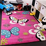Kinder Teppich Schmetterling Design Grün Grau Schwarz Creme Pink, Grösse:120x170 cm