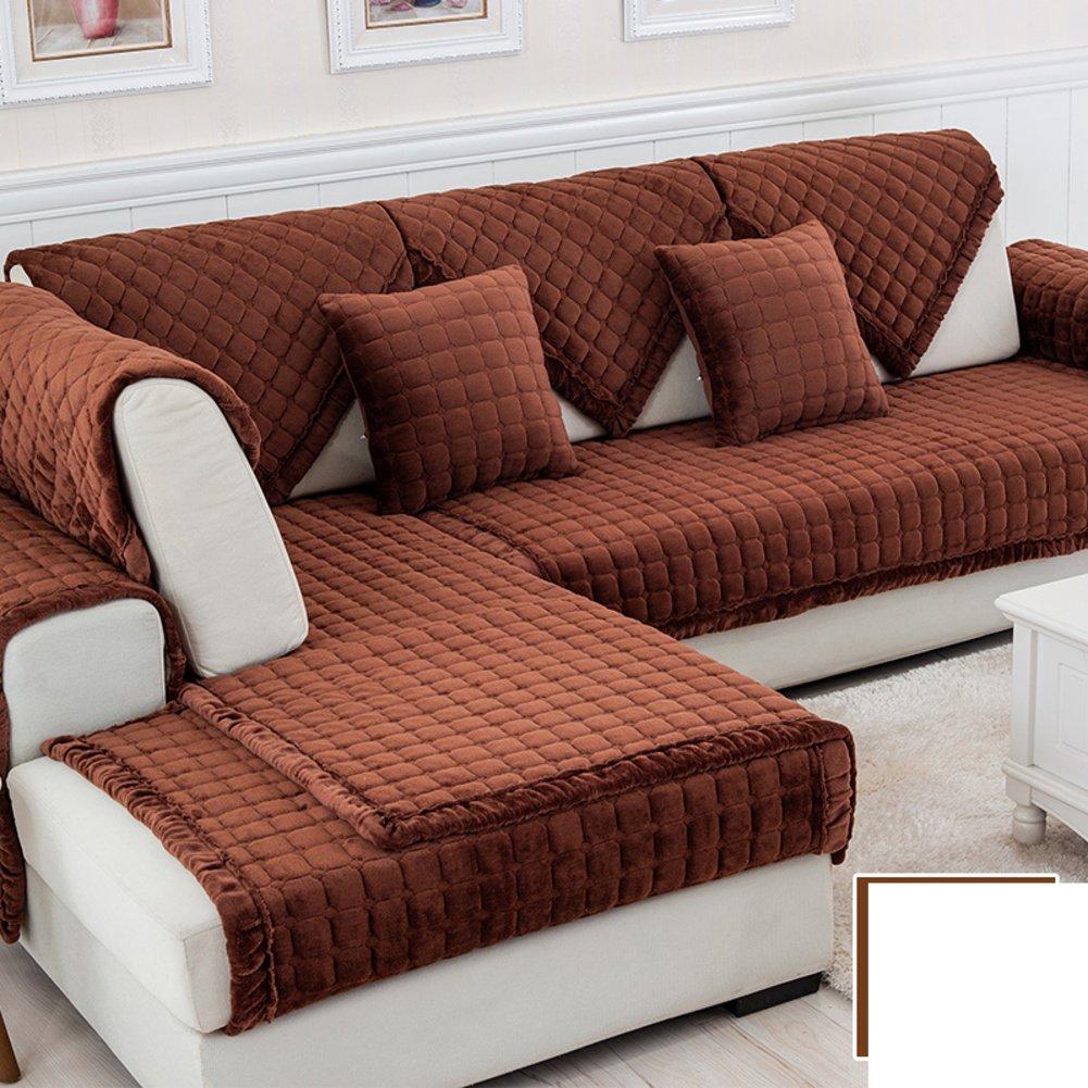 DW&HX winter Thicken Flannel plush Sofa cushions, Cover Anti-skidding Fabric Sofa cover Cushion-P 90x240cm(35x94inch)