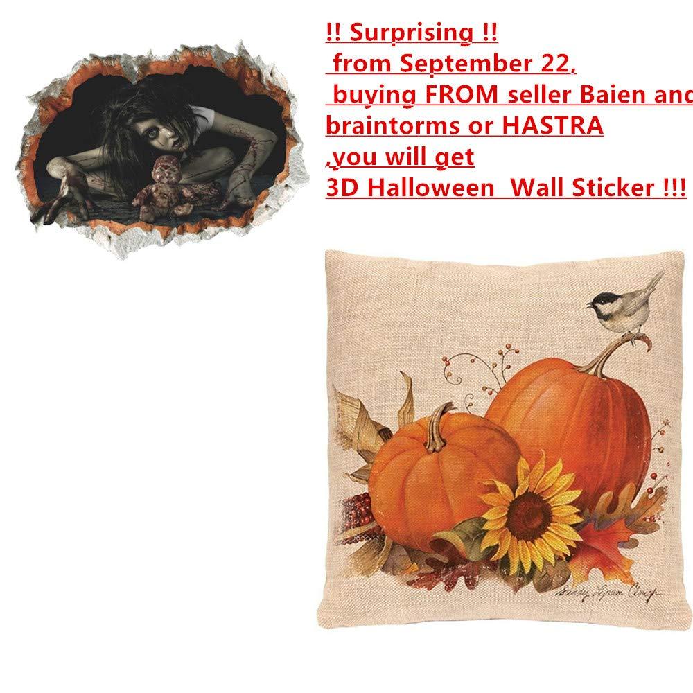 Pumpkin Throw Pillow Cover Halloween Cushion Case 18 x 18 inch