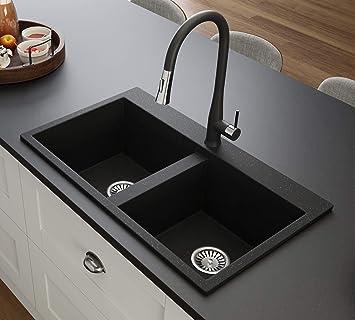 Black Kitchen Sink Lavello Elle 200t 32 Kitchen Sinks Drop In Double Kitchen Sink Granite Sink Drop In Kitchen Sink Composite Sink Top Mount Double Bowl Amazon Com