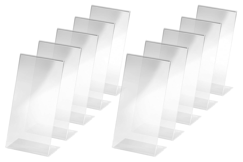 Sigel SY455 TA212 Tischaufsteller schräg, 3 Stück, für A5, glasklar Acryl - weitere Größen 3 Stück für A5