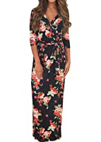 Voguegirl Womens Summer 3/4 Sleeve V Neck Floral Print Faux Wrap Maxi Long Dresses with Belt
