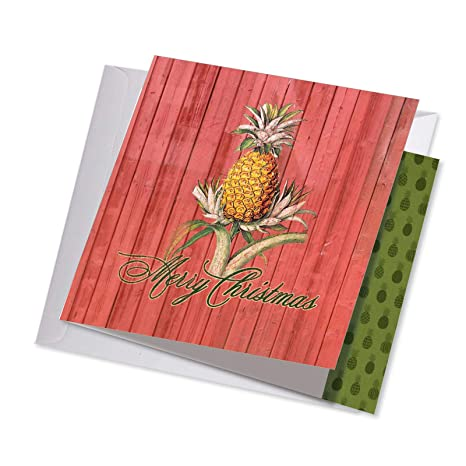 Holiday Harvest Pineapple Merry Christmas Card With Envelope 8 25 X 9 75 Inch Beautiful New Year And Xmas Notecard For A Happy Holidays