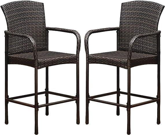 HAPPYGRILL 2pcs Rattan Wicker Bar Stool Outdoor Patio Furniture Backyard Bar Chair - a good cheap outdoor bar stool