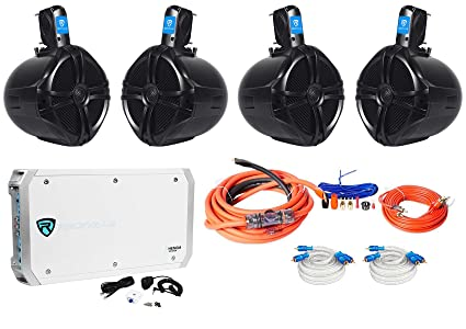 "2 Pair Rockville RWB80B 8"" Wakeboard Marine Speakers+6 Channel Amplifier+Amp Kit"