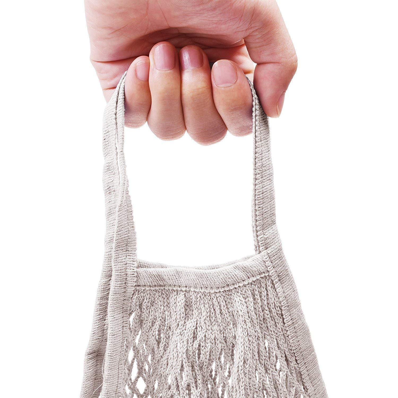 Schwarz, Beige SODIAL 2 Stuecke Tragbare Wiederverwendbare Mesh Baumwolle Netztasche Aufbewahrungstasche Einkaufstasche Obst Aufbewahrungstasche Einkaufstasche