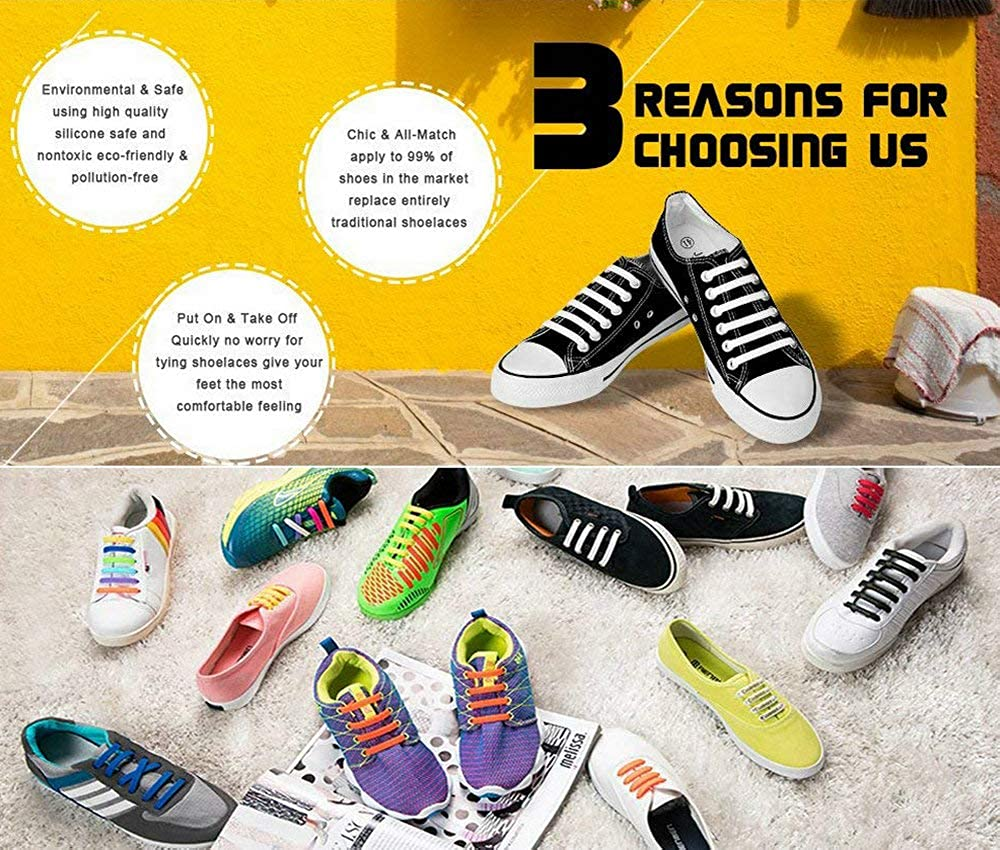 HYFAM No Tie Shoelaces for Kids Waterproof Elastic Silicone Tieless Shoe Laces for Sneakers Board Shoes Casual Shoes