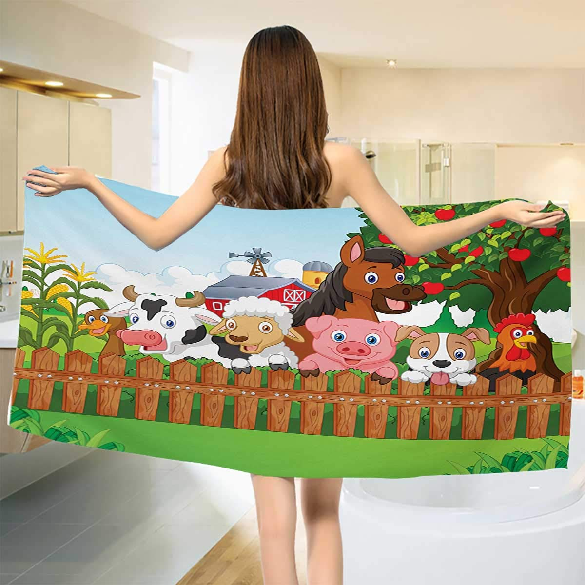 Chaneyhouse Cartoon,Baby Bath Towel,Collection Cute Farm Animals on Fence Comic Mascots with Dog Cow Horse Kids Design,Print Wrap Towels,Multicolor Size: W 10'' x L 39.5''