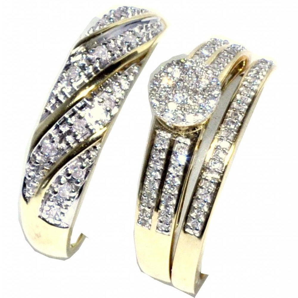 His and Her Trio Rings Set 0.3cttw Diamonds 10K Yellow Gold Pave Set 3pc set(I/jColor, 0.3cttw) by Midwest Jewellery (Image #3)