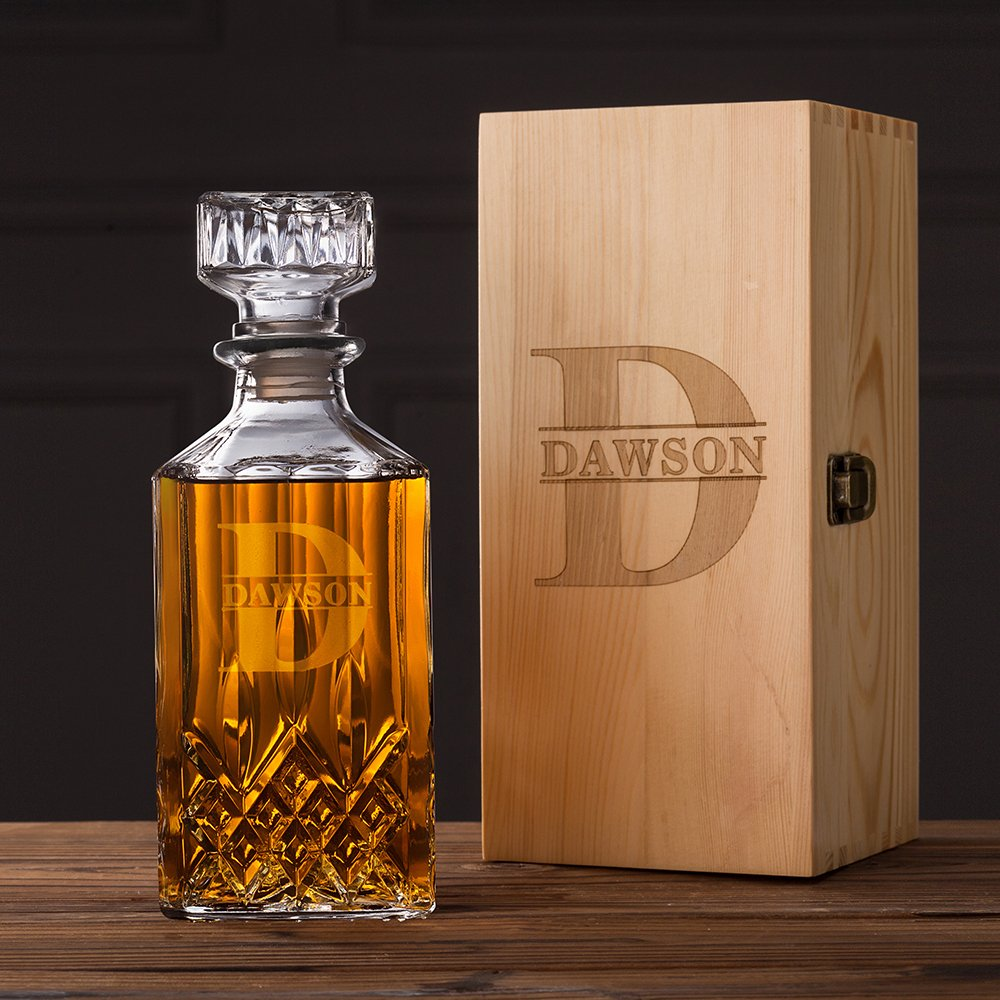 Groomsmen Gifts Whiskey Decanter 28oz. Personalized Monogrammed Glass Whiskey Decanter with Wood Box