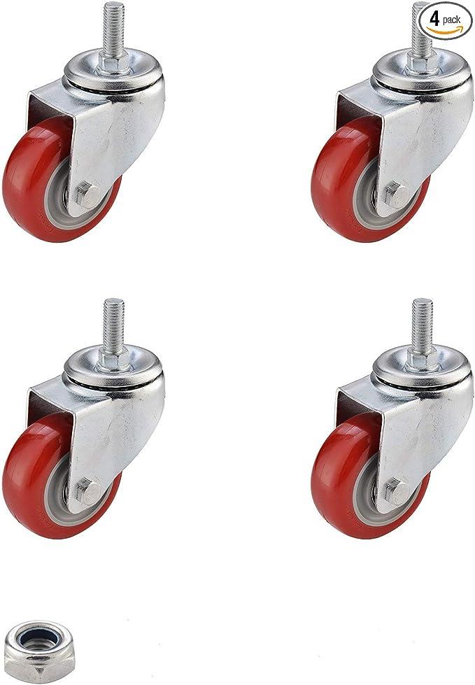 "Plate Casters SungMi 4 Pack 2/"" Heavy Duty Wheels Polyurethane PU Swivel With 360"