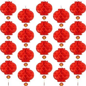 14 Pulgadas Bememo 20 Piezas de Farol de Papel Rojo de A/ño Nuevo Chino Decoraciones de Farolillo Colgante Chino Cifrado Engrosado