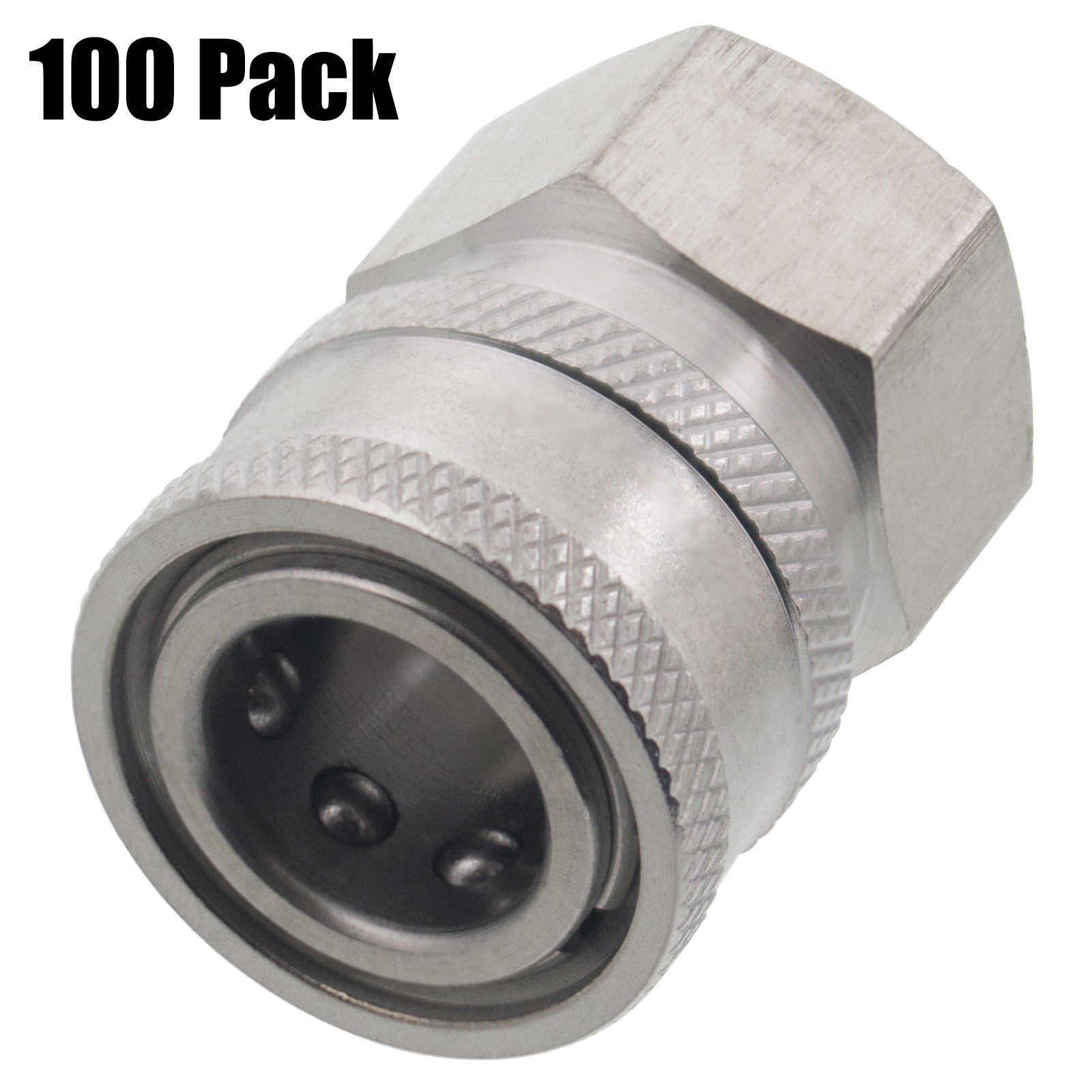 Erie Tools 100 3/8in. FPT Female Stainless Steel Socket Quick Connect Coupler 5000 PSI 10 GPM for Pressure Washer Nozzle Gun Hose Wand