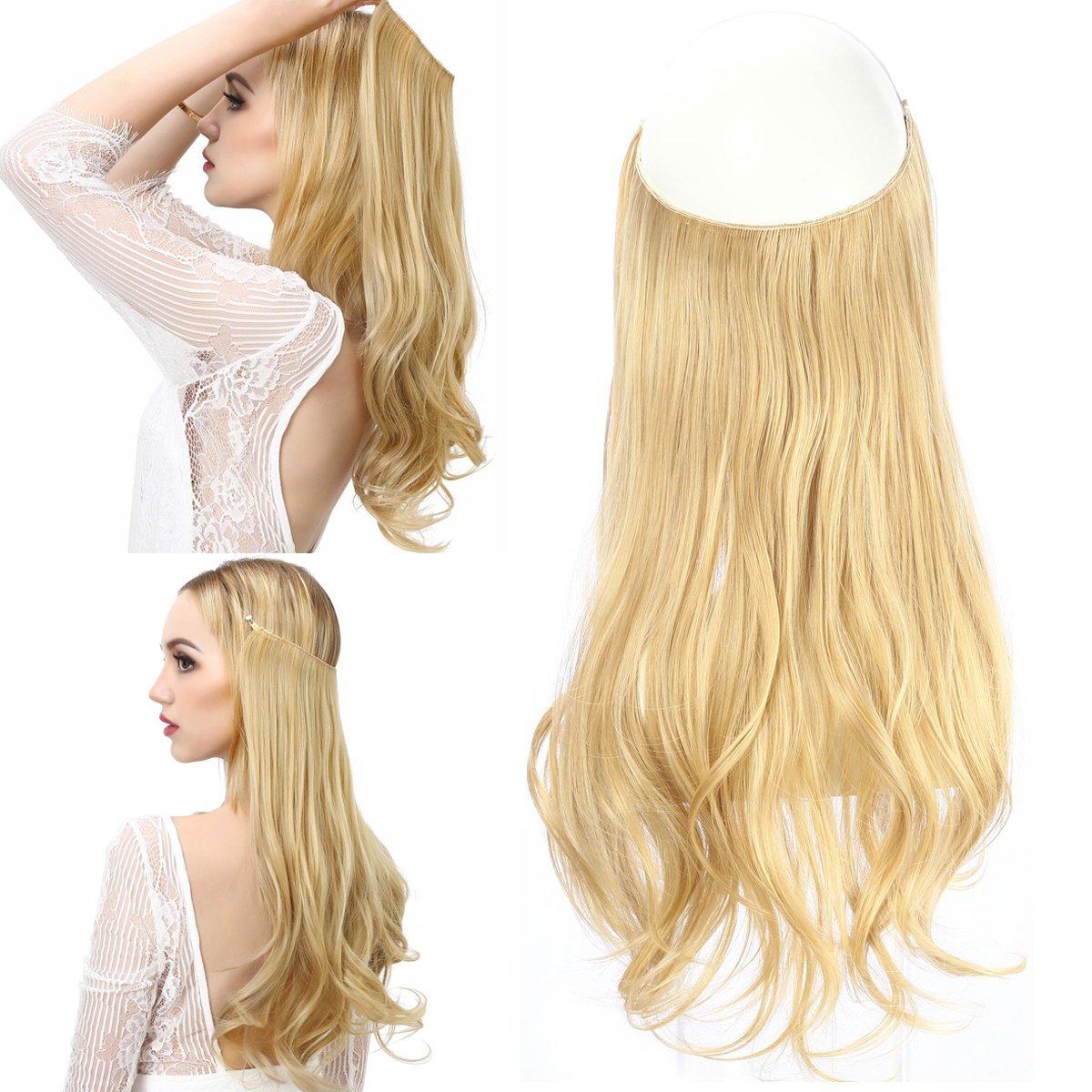 Amazon Blonde Halo Hair Extension Long 18 Secret Natural Wavy