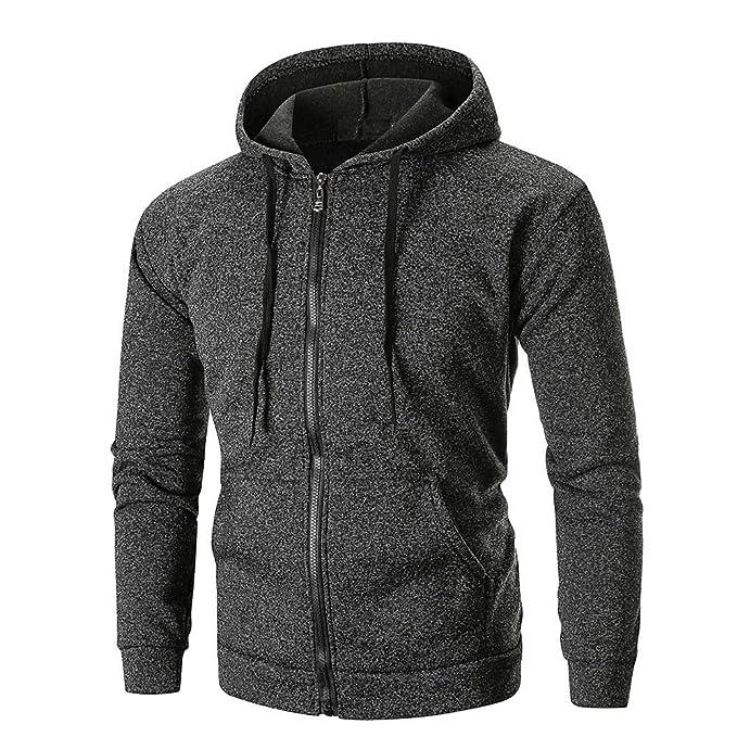 iLXHD Mens Autumn Long Sleeve Zipper Hooded Sweatshirt Outwear Tops Pullover
