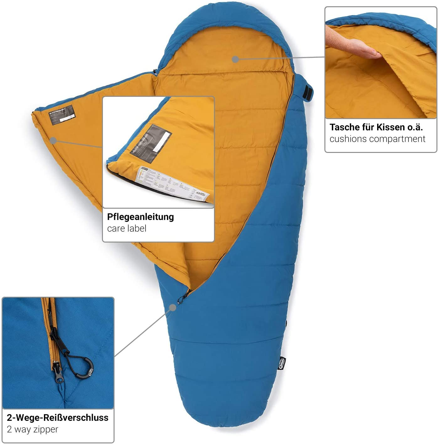 Qeedo Buddy Schlafsack in Eiform, Mumienschlafsack für Damen und Herren, extra breit Blau
