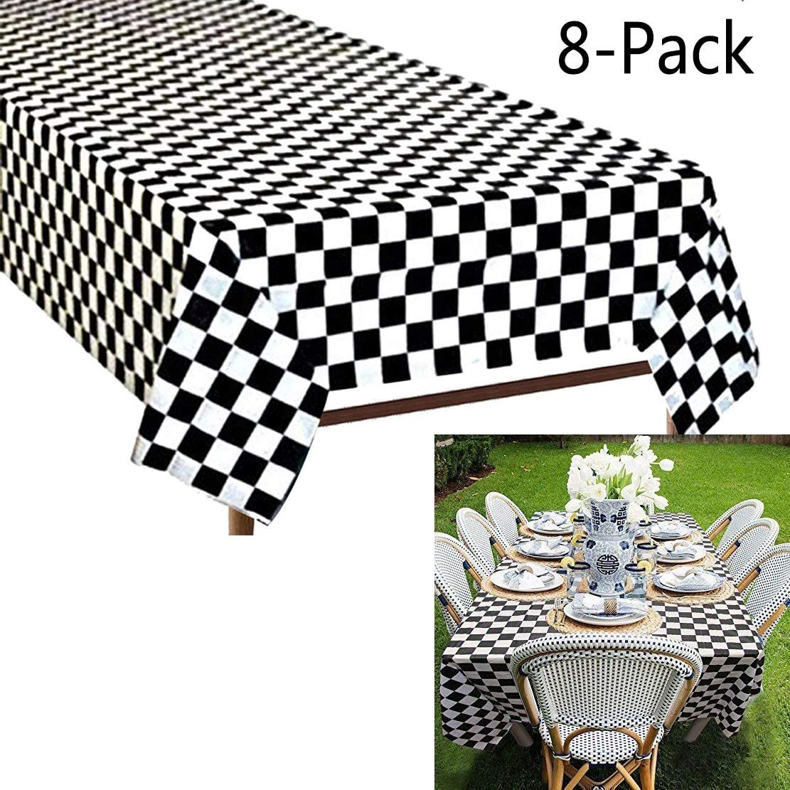 Plastic Black and White Checkered Tablecloths, 8 Packs Plastic Disposable Vinyl Party Tablecloths – Picnic Camping Party Supply Table Cover for Birthdays, Gatherings, Holidays, BBQ Black and White
