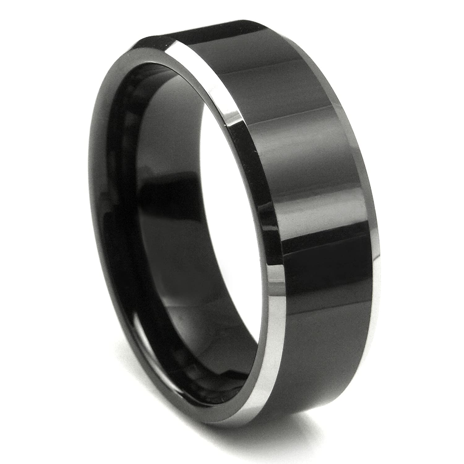 Tungsten Metal Mens Ladies Unisex Ring Wedding Band 8MM 5 16 Inch Flat Top Two Tone Black Beveled Edge Comfort Fit Sz 7 To