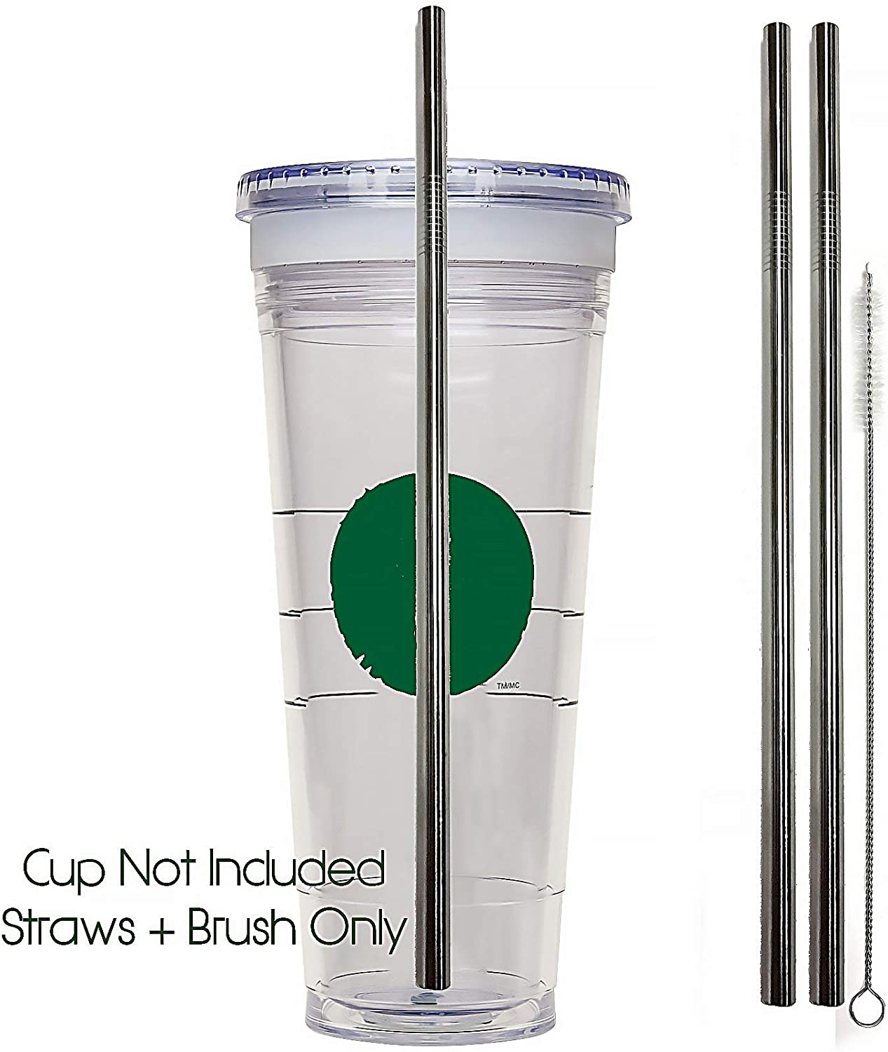 Venti Travel Mug Replacement Straws 2qty - Stainless Steel For Hot & Cold To-Go Drink Cups