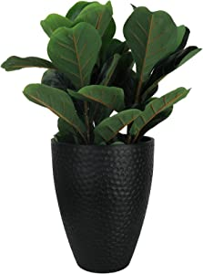 LA JOLIE MUSE Tall Planter Outdoor- 14.2 Inch Large Indoor & Outdoor Tree Planter, Plant Pot Containers, Black, Honeycomb