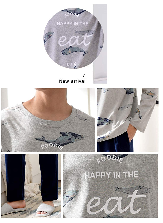 Boys Pajamas,Long Sleeve Cute Dolphin 2 Pcs Set Young 13-20 Years