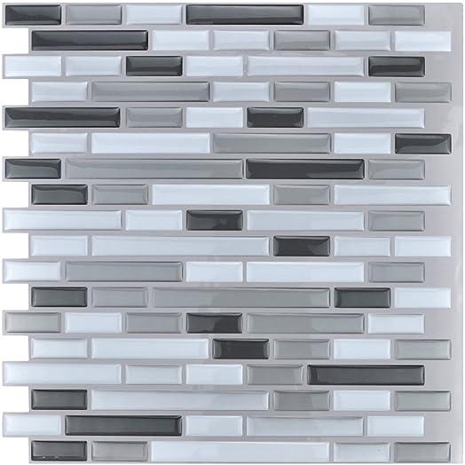 Art3d 30cm X Peel And Stick Tile Kitchen Backsplash Vinyl Wall Stickers Gray