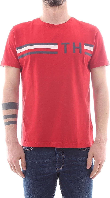 Tommy Hilfiger de los Hombres Camiseta Estampada a Rayas, Rojo ...