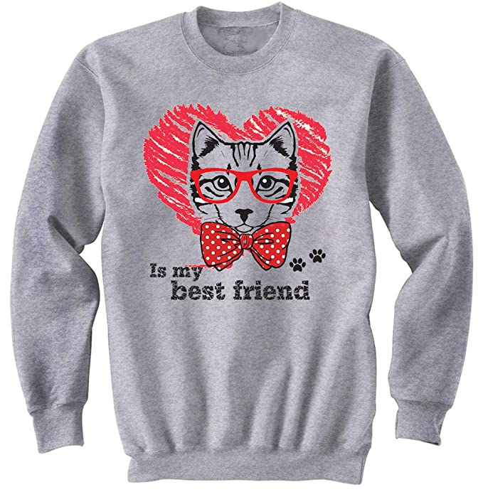 teesquare1st Cat IS MY Best Friend Gris Sudadera: Amazon.es: Ropa y accesorios