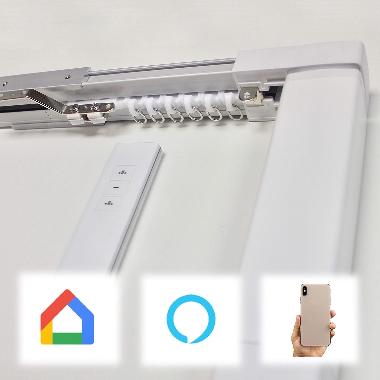con Telecomando Binario Elettrico da 1 a 2 Metri ABALON Tende Motorizzate Binario motorizzato per Tende Smartphone App Google Home Binari a Curva. Smart Home Motore Wifi compatibile con Alexa