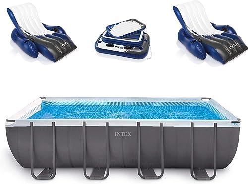 Intex 18 x 9 x 52 Ultra Frame Rectangular Above Ground Pool Set with Floats