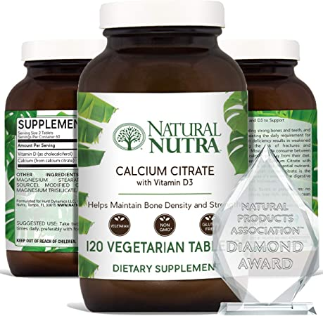 Natural Nutra Calcium Citrate with Vitamin D3, Supplement for Bone Strength, Health and Osteoporosis, Promotes Muscle Movements, Boosts Heart Health, Strengthen Bone Density, 120 Tablets