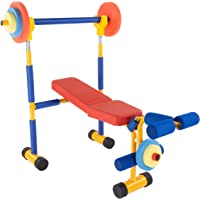 Hey! Play! Toy Bench and Leg Press-Children's Play Workout Equipment for Beginner Exercise, Weightlifting and…