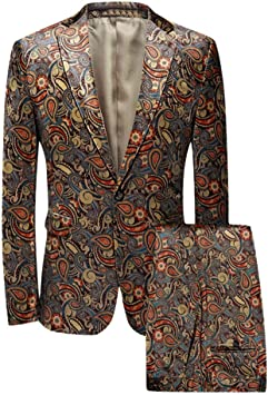 Purple Leisure Mens Floral Suit Jacket Wedding Single-breasted Blazer Coat Tops