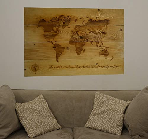 Big world Map reclaimed wood, wall Art solid fir wood, world ...