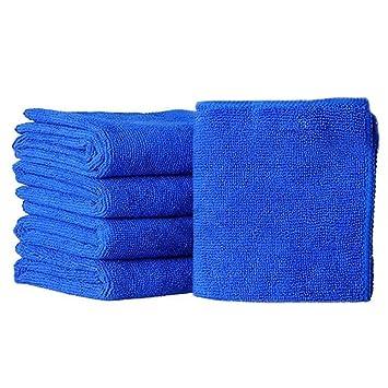 5pcs Azul suave absorbente Lavar toallas de limpieza polvo paños de microfibra para coche ventana cuadro: Amazon.es: Hogar