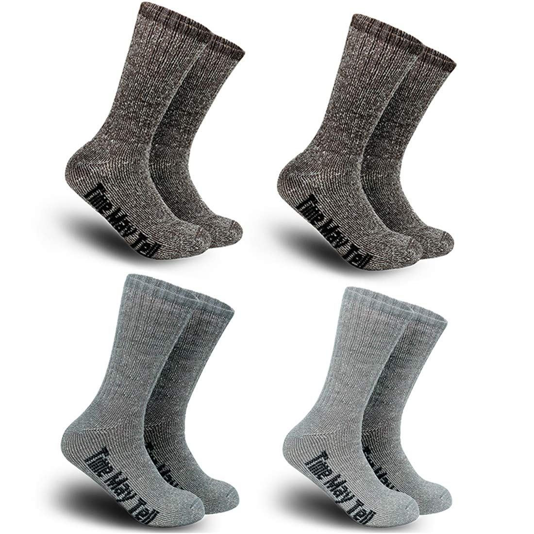 Time May Tell Mens Merino Wool Hiking Cushion Socks Pack (2/4 Pair,6-13 Size) (2Brown,Light Grey,Dark Grey(4 pairs),US Size 9.5~13) ... by Time May Tell