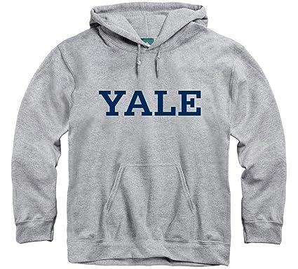 38b49ada Ivysport Yale University Hooded Sweatshirt Classic Logo, 85% Cotton 15%  Polyester, Heather