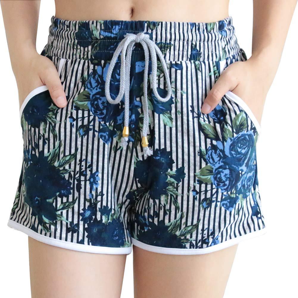 ZOOSIXX New Summer Pants Women Sports Shorts Gym Workout Yoga Short (Plus Size (US 12-24), Vertical Stripe)