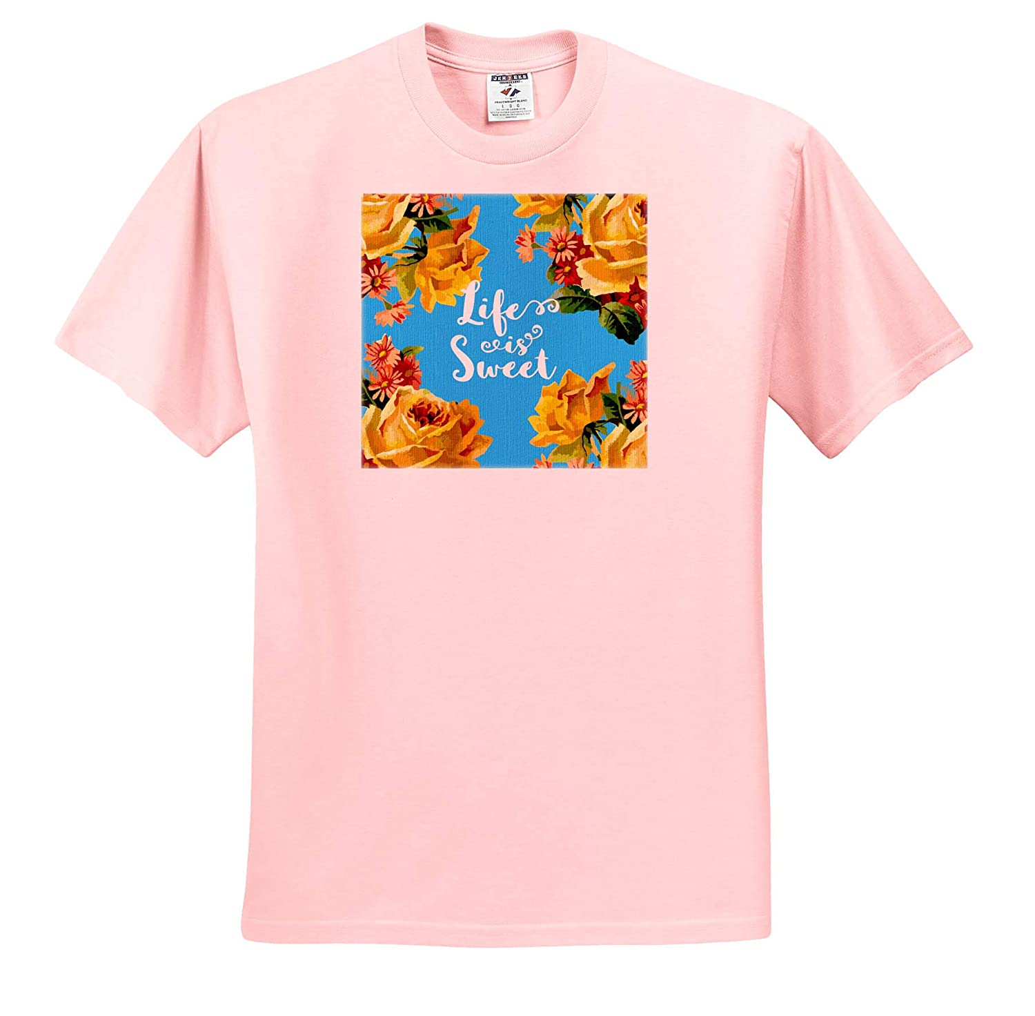 not Linen Texture Life is Sweet T-Shirts 3dRose Russ Billington Designs Yellow Roses and Red Daisies on Blue