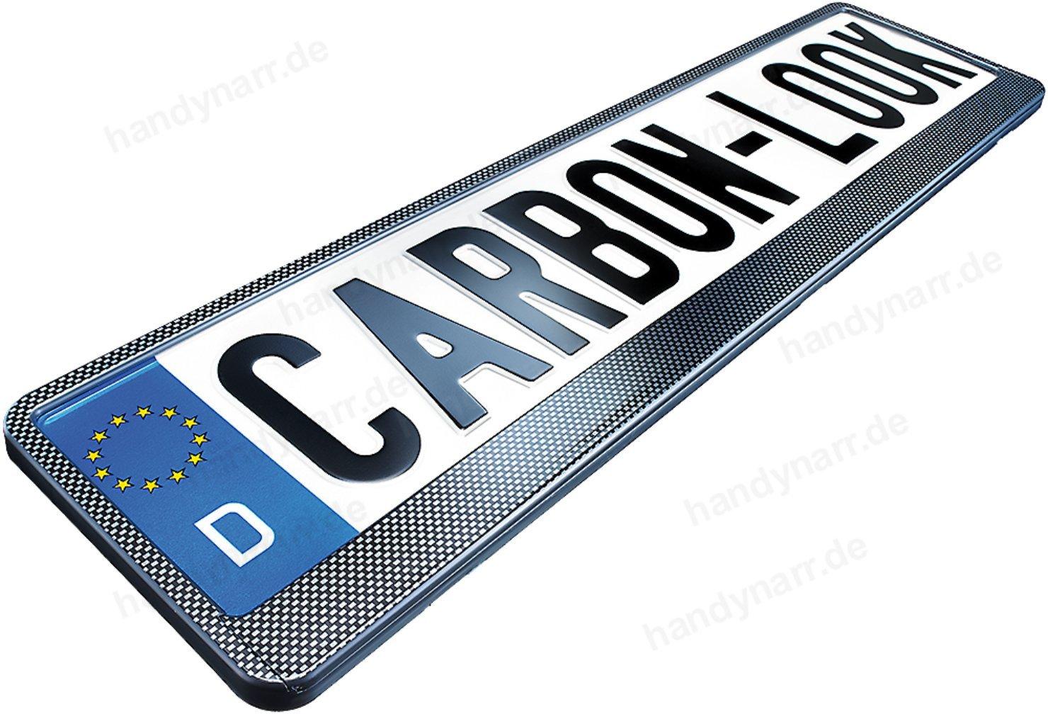 2x Hochglanz CARBON OPTIK LOOK PKW Kennzeichenhalter (schwarz) 520 x ...