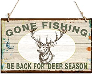 """zhongfei Primitive Hanging Sign Gone Fishing Be Back for Deer Season Sign with Deer Decor (10"""" x 6"""")"""