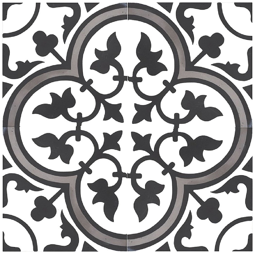 Rustico Tile and Stone RTS13 Roseton B Cement Tile Pack of 13, 8''x 8, White/Black/Gray