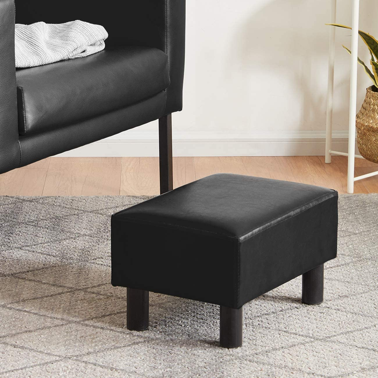 YOUDENOVA 16 inches Footstool Ottoman with Stable Wooden Legs, Small Footrest Under Desk, Faux Leather Black Step Stool Padded Seat, Support 350lbs