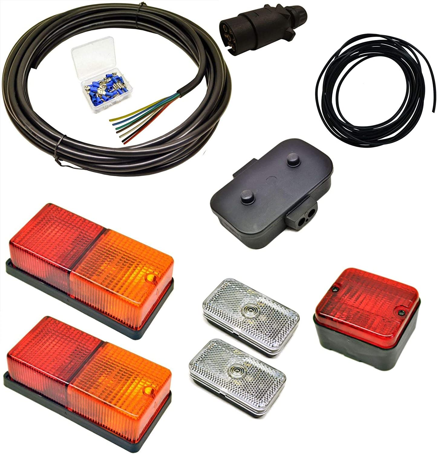 Terminals Medium Lights Junction Box AB Tools-Maypole Trailer Light Wiring Kit 5m Wire Plug